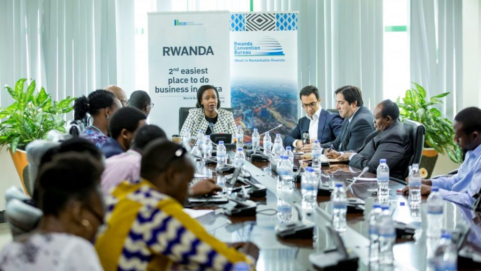 RDB CEO Clare Akamanzi with stakehlders addressing media on the Africa CEO Forum due to take place in Kigali in March 2019
