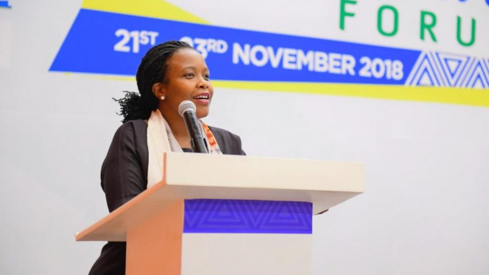 RDB CEO Clare Akamanzi delivers closing remarks at the just concluded Kigali Audio Visual Forum