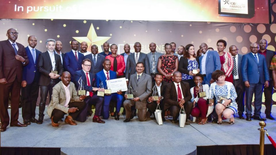 Winners of the RDB Business Excellence Awards 2017 alongside other public and private sector officials pose for a group photo