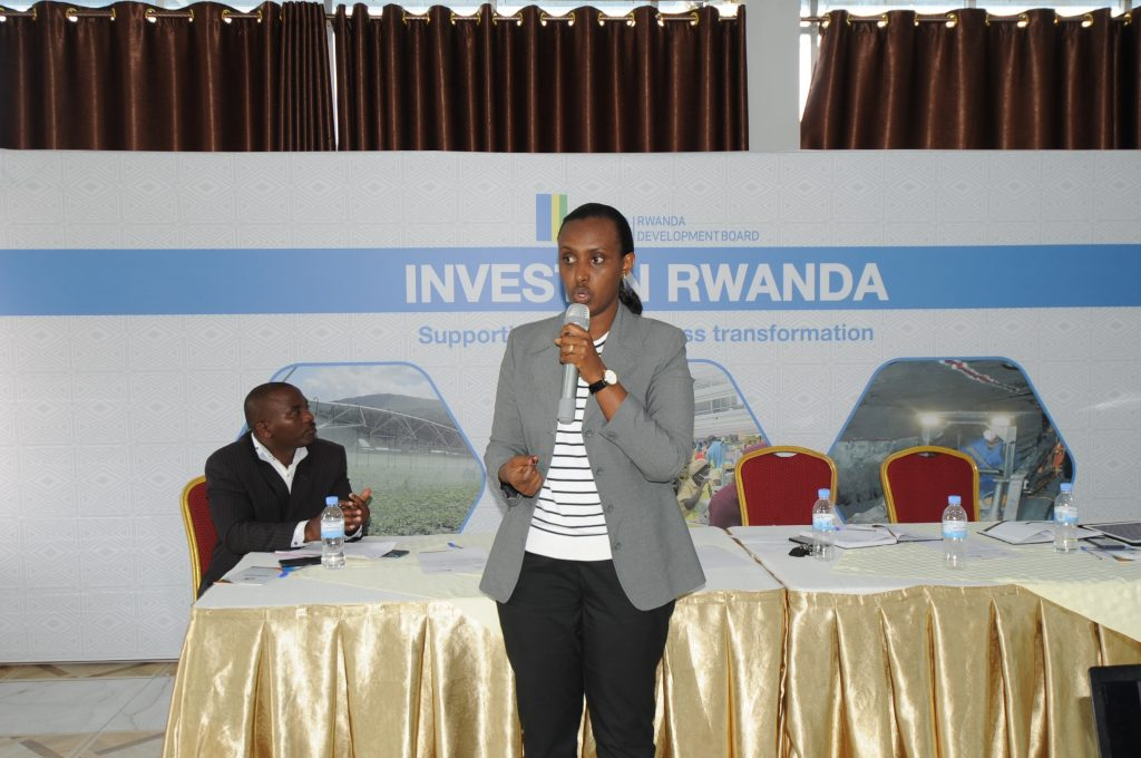 RDB's Head of Investment Promotion, Winifred Ngangure presents to different enterpreneurs on the different opportunities for investment in Musanze District during the forum
