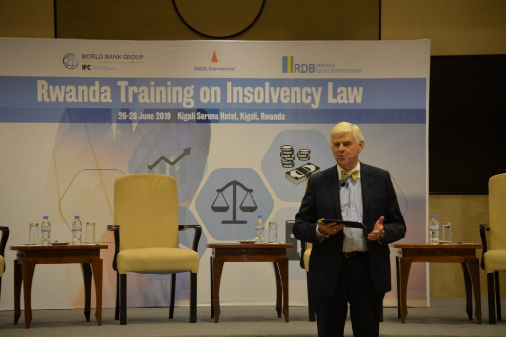 One of the trainers presents during the Insolvency workshop