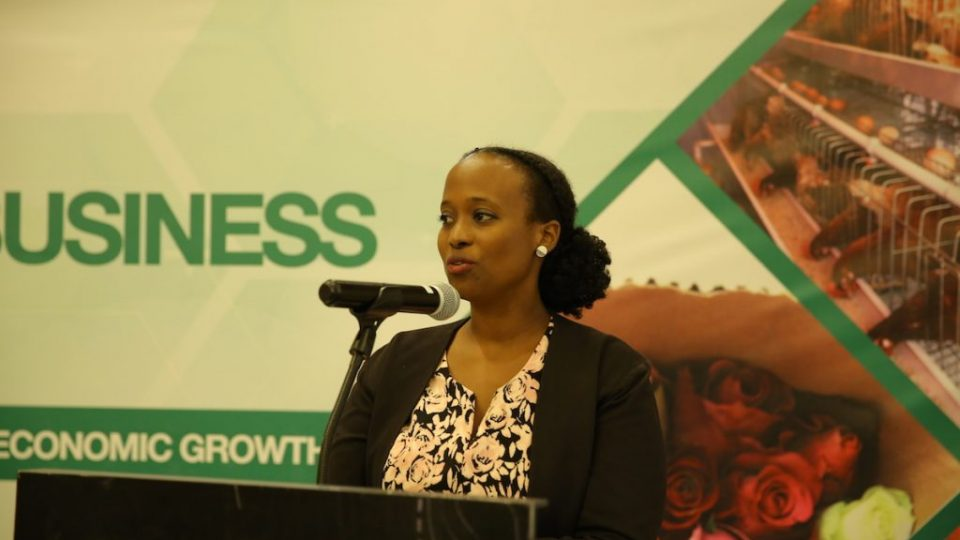 RDB's Acting Deputy CEO, Louise Kanyonga gives her opening remarks at the forum