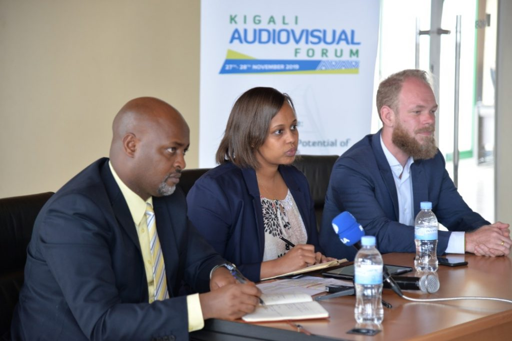 From L-R, RDB's Head of the Single Project Implementation Unit, Felix Siboniyo, RDB's Head of Tourism and Conservation and Victor Chudal Linden, from GIZ's Eco-Emploi program at the press conference today