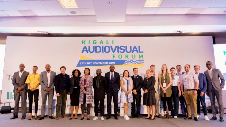 Key note speakers and panelists at this year's Kigali Audio-Visual Forum pose for a group photo today