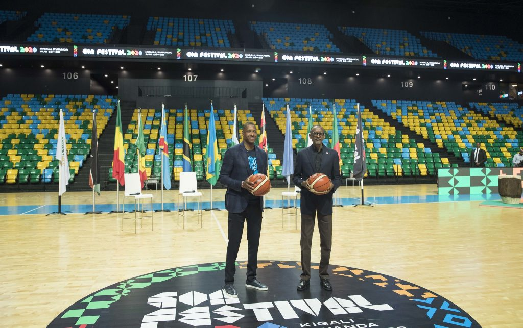 Masai Ujiri, co-founder of Giants of Africa (L) and H.E President Paul Kagame (R) at the launch of the festival in Kigali in February this year